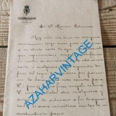 Documentos antiguos: 1900, CARTA FIRMADA POR EL SENADOR SALVADOR CASTELLOTE Y PINAZO, OBISPO DE JAEN, RARA. Lote 296877128