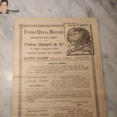 Documentos antiguos: ANTIGUO FOLLETO PUBLICIDAD FERRO QUINA BISLERI - RECONSTITUYENTE TÓNICO - PAPEL PUBLICITARIO FELICE. Lote 297043543