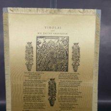 Documentos antiguos: GOIGS/GOZOS VIROLI POR MN.JACINT VERDAGUER SOBRE SEDA COSIDA A PAPEL.. Lote 297046063