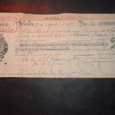 Documentos bancarios: LETRA DE CAMBIO DEL SIGLO XIX ;LIBRADO_VALEDESPINO Y LIBRADOR- J.B. CARLES Y CIA. Lote 557056