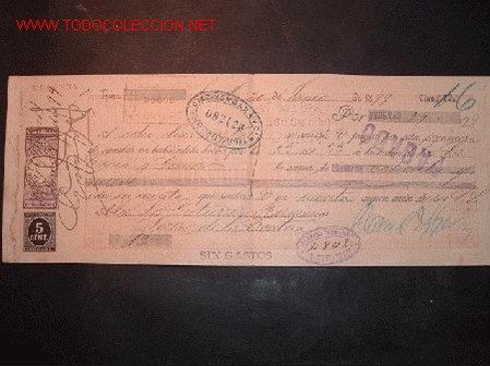 LETRA DE CAMBIO DEL SIGLO XIX CON SELLO DE IMPUESTO DE GUERRA(1898-99) (Coleccionismo - Documentos - Documentos Bancarios)