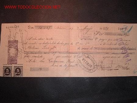 LETRA DE CAMBIO DEL SIGLO XIX CON 2 SELLO DE IMPUESTO DE GUERRA(1898-99) (Coleccionismo - Documentos - Documentos Bancarios)