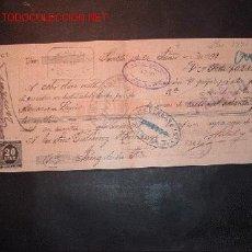 Documentos bancarios: LETRA DE CAMBIO DEL SIGLO XIX CON 2 SELLO DE IMPUESTO DE GUERRA(1898-99). Lote 647485