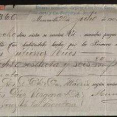 Documentos bancarios: LETRA DE CAMBIO ,CUBA 1903. Lote 656811