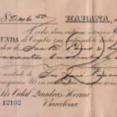 Documentos bancarios: LETRA DE CAMBIO ,CUBA 1893. Lote 656823