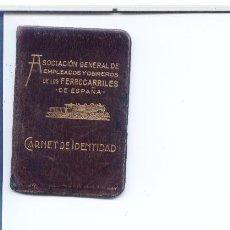 Documentos bancarios: ASOCIACION GENERAL DE EMPLEADOS Y OBREROS DE LOS FERROCARILES DE ESPAÑA.CARNET DE IDENTIDAD.1924. Lote 5150079