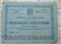 LIBRETA DE CREDITO CAJA AHORROS Y MONTE DE PIEDAD. 1965 (Coleccionismo - Documentos - Documentos Bancarios)