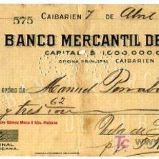Documentos bancários: CHEQUE BANCO MERCANTIL DE CUBA , CAIBARIEN , 1923 CHE29. Lote 19710016