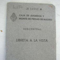 Documentos bancarios: CAJA DE AHORROS Y MONTE DE PIEDAD DE MADRID- SUBCENTRAL-LIBRETA A LA VISTA-1953.- CON 40 PÁG. Lote 20205791