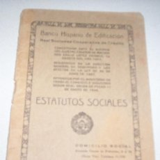 Documentos bancarios: ESTATUTOS SOCIALES - BANCO HISPANO DE EDIFICACION. Lote 25370685