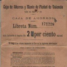Documentos bancarios: 1938 GUERRA CIVIL. LIBRETA DE LA CAJA DE AHORROS Y MONTE DE PIEDAD DE VALENCIA. Lote 27317857