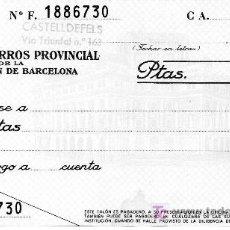Documentos bancarios: CAJA DE AHORROS PROVINCIAL DE LA DIPUTACIÓN DE BARCELONA. CHEQUE. TALON. CAIXA CATALUNYA. CATALUÑA.. Lote 26403812