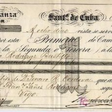 Documentos bancarios: ANTIGUA LETRA DE CAMBIO DE SANTIAGO DE CUBA - 1869. Lote 26430923