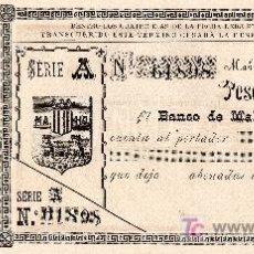 Documentos bancarios: BANCO DE MAHON. BALEARS. MENORCA. SES ILLES. CHEQUE. TALON. BALEARES. MAÒ. AÑOS 1880. Lote 26635550
