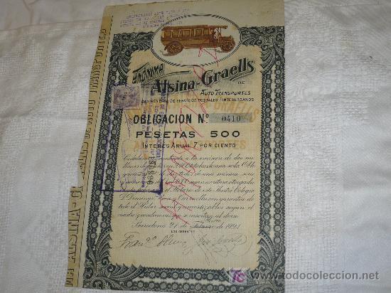 ALSINA-GRAELLS AUTO TRANSPORTES (Coleccionismo - Documentos - Documentos Bancarios)