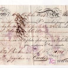 Documentos bancarios: .LETRA CAMBIO 1ª 10000 RS VELLON, LONDRES 16 OCTUBRE 1844 (A SEVILLA). Lote 11526544