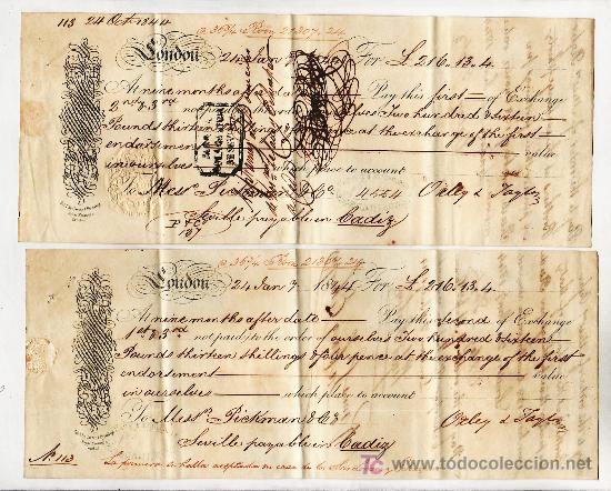 .LETRA CAMBIO 1ª Y 2º LIBRA 216-13-4 (EQUIVALENTE 21307,24 RS VELLON), LONDON 24 ENERO 1844 (A SEV + (Coleccionismo - Documentos - Documentos Bancarios)