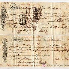 Documentos bancarios: .LETRA CAMBIO 1ª Y 2º LIBRA 216-13-4 (EQUIVALENTE 21307,24 RS VELLON), LONDON 24 ENERO 1844 (A SEV +. Lote 11526649