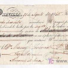 Documentos bancarios: .LETRA CAMBIO 1ª 1737 RS VELLON, SEVILLA 31 AGOSTO 1865. Lote 11526833