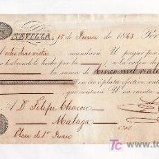 Documentos bancarios: .LETRA CAMBIO 1ª 5000 RS VELLON, SEVILLA 15 JUNIO 1863. Lote 11527024