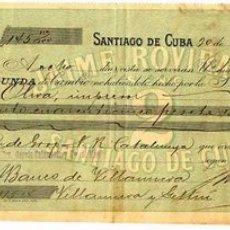 Documentos bancários: CHEQUE O LETRA DE CAMBIO ,DE JAIME ROVIRA , SANTIAGO DE CUBA, 1912. Lote 19710023