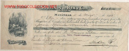 PRECIOSA LETRA DE ASTURIAS (PRAVIA ) DEL COMERCIO CON CUBA DE MATANZAS DE1915 (Coleccionismo - Documentos - Documentos Bancarios)