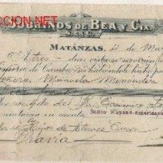 Documentos bancarios: PRECIOSA LETRA DE ASTURIAS (PRAVIA ) DEL COMERCIO CON CUBA DE MATANZAS DE1915 . Lote 21066589