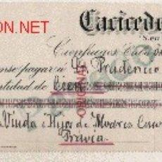 Documentos bancarios: PRECIOSO CHEQUE DE ASTURIAS (PRAVIA ) DEL COMERCIO CON CUBA DE 1922 DE CIENFUEGOS . Lote 16880490