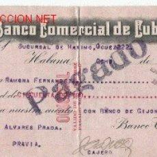 Documentos bancarios: CHEQUE DE ASTURIAS DEL COMERCIO CON CUBA DE 1924 DEL BANCO COMERCIAL DE CUBA LA HABANA. Lote 21329815