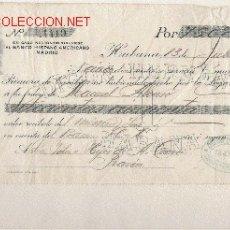 Documentos bancarios: PRECIOSA LETRA DE ASTURIAS (PRAVIA ) DEL COMERCIO CON CUBA DE 1911 DE LA HABANA . Lote 20959431