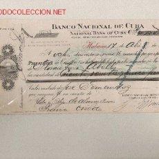 Documentos bancarios: PRECIOSA LETRA DE ASTURIAS (PRAVIA ) DEL COMERCIO CON CUBA DE 1909 DE LA HABANA . Lote 7099848