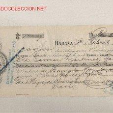 Documentos bancarios: PRECIOSA LETRA DE ASTURIAS (PRAVIA ) DEL COMERCIO CON CUBA DE 1908 DE LA HABANA . Lote 20912195