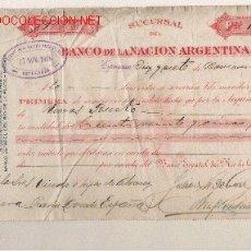 Documentos bancarios: LETRA DE ASTURIAS (PRAVIA ) DEL COMERCIO CON ARGENTINA DE 1908 DE ESPERANZA . Lote 12867824