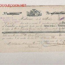 Documentos bancarios: PRECIOSA LETRA DE ASTURIAS (PRAVIA ) DEL COMERCIO CON CUBA DE 1900 DE LA HABANA . Lote 20995103