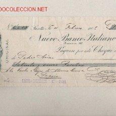 Documentos bancarios: PRECIOSO CHEQUE DE ASTURIAS (PRAVIA ) DEL COMERCIO CON ARGENTINA DE 1908 DE SANTA FE . Lote 7162072
