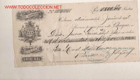 PRECIOSO CHEQUE DE ASTURIAS (PRAVIA ) DEL COMERCIO CON CUBA DE 1915 DE LA HABANA (Coleccionismo - Documentos - Documentos Bancarios)