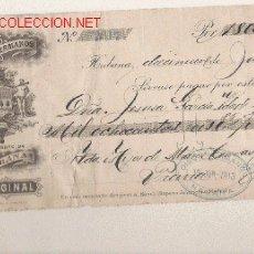 Documentos bancarios: PRECIOSO CHEQUE DE ASTURIAS (PRAVIA ) DEL COMERCIO CON CUBA DE 1915 DE LA HABANA. Lote 7162081