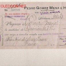 Documentos bancarios: PRECIOSO CHEQUE DE ASTURIAS (PRAVIA ) DEL COMERCIO CON CUBA DE 1921 DE LA HABANA. Lote 7162084