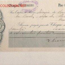 Documentos bancarios: PRECIOSO CHEQUE DE ASTURIAS SAN ESTEBAN DE PRAVIA (PRAVIA ) DE 1917. Lote 19472391