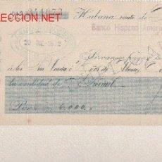 Documentos bancarios: PRECIOSO CHEQUE DE ASTURIAS (PRAVIA ) DEL COMERCIO CON CUBA DE 1912 DE LA HABANA. Lote 7231084