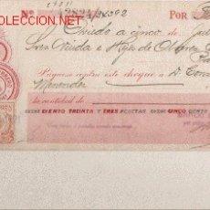 Documentos bancarios: PRECIOSO CHEQUE DE ASTURIAS OVIEDO CON SELLO MOVIL MUY RARO DE 1921. Lote 7162070