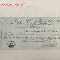 Documentos bancarios: PRECIOSO CHEQUE DE ASTURIAS (PRAVIA ) DEL COMERCIO CON CUBA DE 1920 DE LA HABANA. Lote 7162102
