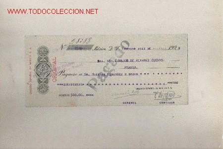 PRECIOSO CHEQUE DE ASTURIAS (PRAVIA ) DEL COMERCIO CON MEXICO DE 1922 DE MEXICO (Coleccionismo - Documentos - Documentos Bancarios)