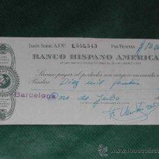 Documentos bancarios: CHEQUE BANCO HISPANO AMERICANO 1966. Lote 9821089