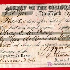 Documentos bancarios: DOCUMENTO BANCARIO, NEW YORK , 1870, BANCO COLONIAL BANK , CHEQUE. Lote 25790063