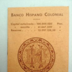 Documentos bancarios: MINI AGENDA TELEFONICA -BANCO HISPANO COLONIAL - 1876. Lote 22011541