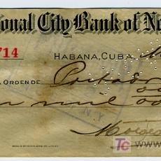 Documentos bancários: CHEQUE BANCO THE NATIONAL CITY BANK OF NEW YORK, HABANA CUBA, AÑOS 30. Lote 35273472