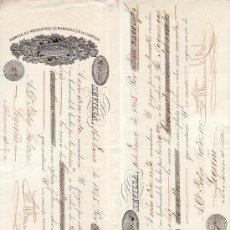 Documentos bancarios: .LETRA CAMBIO 1ª Y 2ª 2500 RS VELLON, SEVILLA 16 ENERO 1865. Lote 11526905