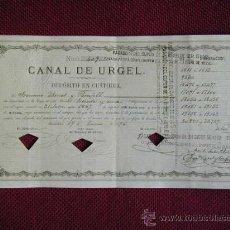 Documentos bancarios: DEPOSITO DE 31 OBLIGACIONES DEL CANAL DE URGEL DEL AÑO 1872. Lote 27256778