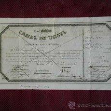 Documentos bancarios: DEPOSITO DE 20 OBLIGACIONES DEL CANAL DE URGEL DEL AÑO 1863. Lote 27256779